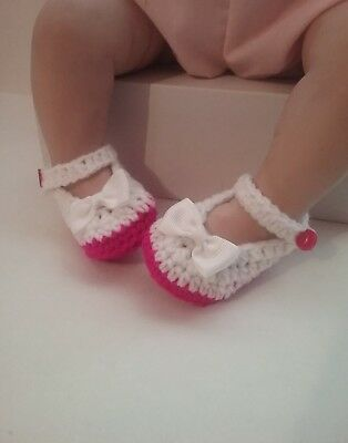 Baby Handmade Crochet Booties Shoes New Born Padded Butterfly