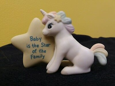 """Baby Unicorn Ceramic """"Baby is the Star of the Family"""" Vintage Enesco 1985 Figure"""