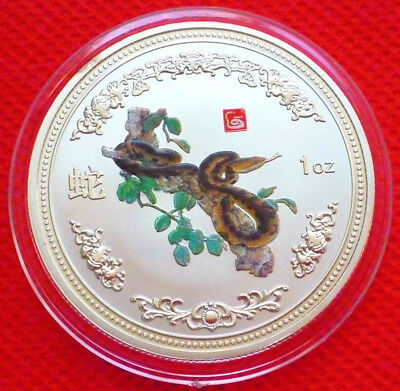 Exquisite  Chinese Lunar Zodiac Colored Silver Coin - Year of the  Snake