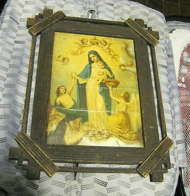 Antique Color Print Of Our Lady With Baby Jesus With Angels, Antique Wood Frame