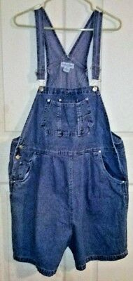 In Due Time Maternity Women's Blue Jean Denim Bib Shortalls Overalls XL