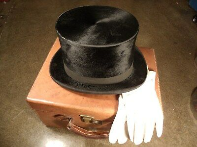 Vintage LINCOLN BENNETT & Co London Beaver TOP HAT matching LEATHER BOX / Gloves