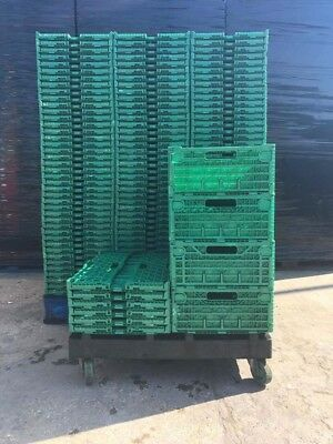 50 x Folding Storage Crates 60x40x18cm Plastic EURO Drop Front Picking Boxes