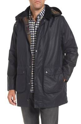 Men's Barbour Leighton Waxed Cotton Jacket XL Rainwear hood NEW with tags