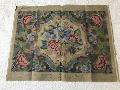 Vintage huge semco chippendale floral ornate french pattern tapestry canvas
