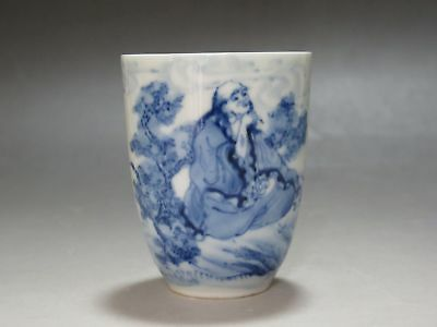 Chinese Blue and white porcelain Cup Hand painted Lohan Buddha Tea Cup Have mark