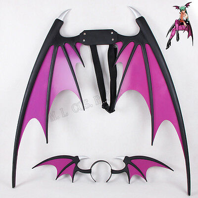 Hot Vampire Darkstalker Morrigan Aensland Wings and Headband Cosplay Accessories