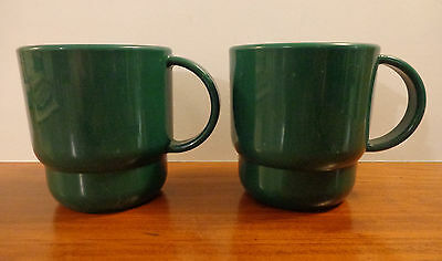 2 Vintage Tupperware Green Mugs / Cups