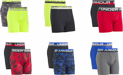 Under Armour Big Boys' 2 Pack Performance Boxer Briefs, Assorted Colors