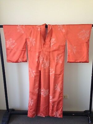 Vintage Japanese Orange Silk Floral Hand Made One of a Kind Costume Robe SALE