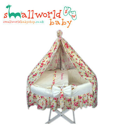 Personalised Girls Cream/Scone Skirt Moses Basket Cover Drape NEXT DAY DISPATCH