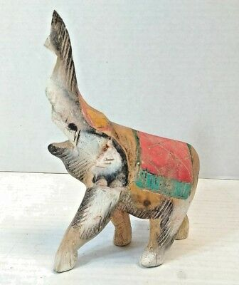 "Primitive Hand Carved Painted Wooden Elephant wood 7"" vintage antique folk art"
