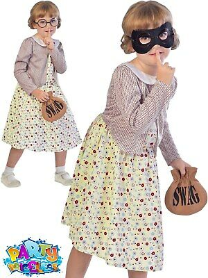 Child Burglar Granny Costume Gangsta Gran Girls Book Week Day Fancy Dress Kids