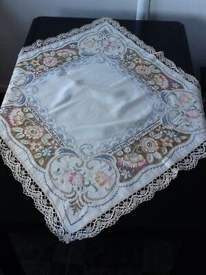 "Stunning Vintage 1930s Embroidered Linen Tablecloth 36"" X 36"""