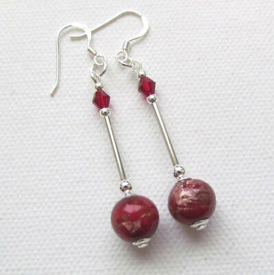 Art Deco Style Red Murano 925 Sterling Silver PIERCED Earrings Jellybean