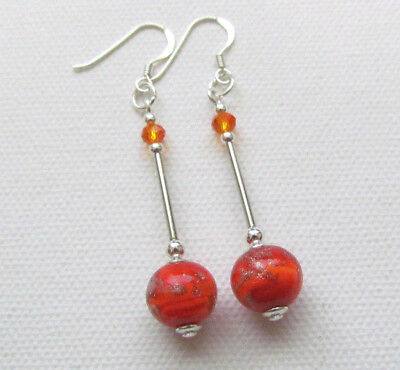 Art Deco Style Orange Murano 925 Sterling Silver PIERCED Earrings Jellybean