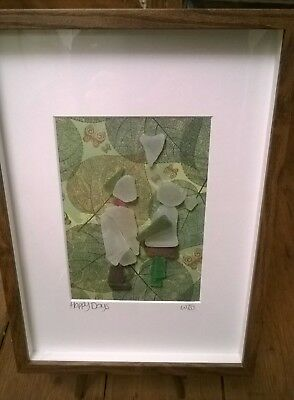Framed Irish Sea Glass art ~ Engagement Wedding Anniversary Gift ~ St Patrick's