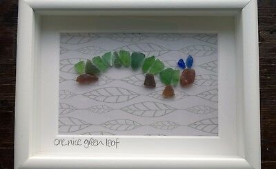 Framed Irish Sea Glass art ~ Animal Caterpillar ~ St Patrick's day gift ~ child