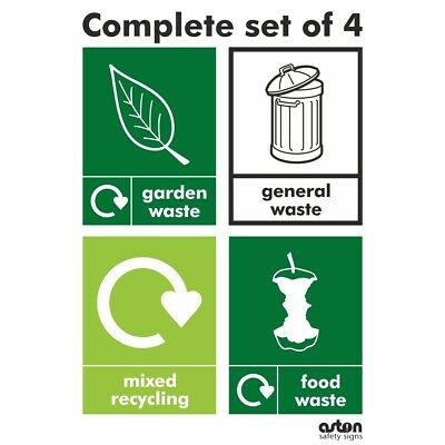 Complete set of 4 WRAP Recycling stickers for your bins - 4x 75mm x 100mm