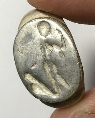 ANCIENT GREEK SILVER SEAL RING VERY RARE 14.7gr 27.0mm (23.0mm inner)