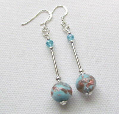Art Deco Style Turquoise Murano 925 Sterling Silver PIERCED Earrings Jellybean