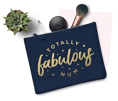 Totally Fabulous Mum Makeup Bag Case Zip Make Up Gift Clutch Mothers Day Mom