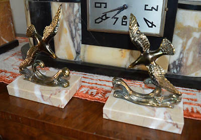 French Art deco spelter Birds on marble base