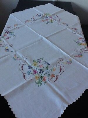 "Stunning Vintage 1930s Embroidered Linen Tablecloth 49"" X 49"""
