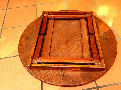 Antique Japanese Round Folding Legs Table Asian Solid Oak Signed by Master