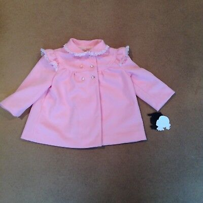 Ilgwu Workers Union Vintage Pink 24m Girls Coat Lined Lace Trim