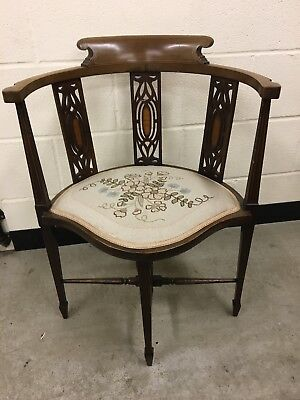 Antique Irish Corner Chair with Embroidered Seat