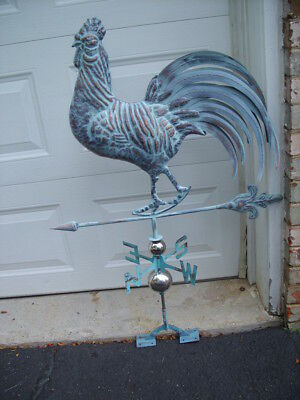 Rooster Weathervane Antique Copper Finish Weather Vane Hand Crafted