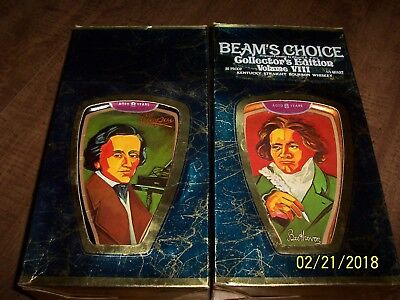 Vintage Jim Beam Collectible Decanters Classical Artist Chopin & Beethoven