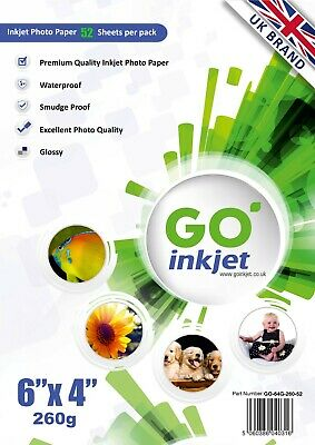 50 Sheets 6x4 High Gloss Photo Paper 260gsm for Inkjet Printers by GO Inkjet