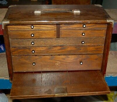 Quality Antique Oak Dovetailed Engineers Cabinet Collectors 7 Drawers Tool Chest