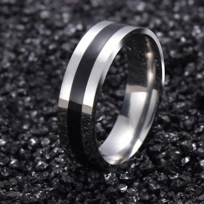 NEW Silver Stainless Steel Plain Black Strip Ring Fashion Mens Gothic Band Rings