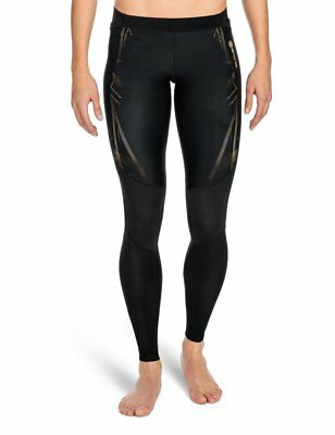 SKINS Womens A400 Compression Long Tights, Black/Gold, Large