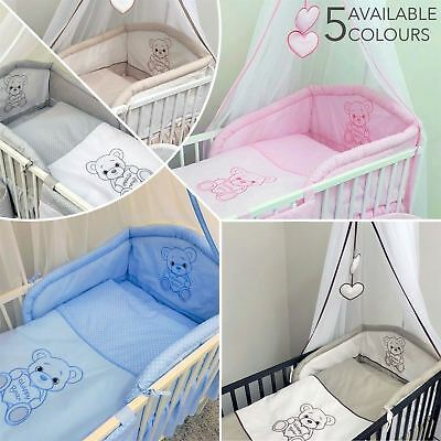 Baby Nursery 3 piece Bedding Set Fits Cot 120 cm Cot Bed 140 cm - Happy Bear