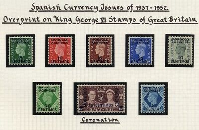 1937-52 Morocco Agencies GVI Spanish Currency 5c-1p SG 164-171 Mint NH Cat $66