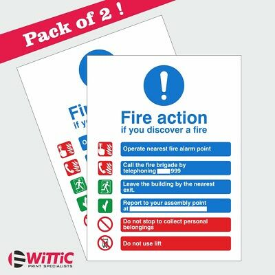 2 X Fire Action Notice. 150mmx200mm Stickers or Rigid Plastic signs (ACT.15W)