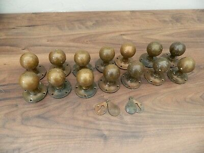 vintage reclaimed brass door knobs x 7 pairs with backplates