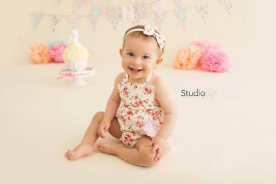 12-18months Handmade Small or Large Floral Print Romper Girls Photography Prop