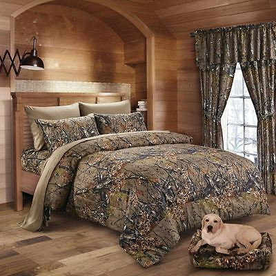 7 pc Cal King Natural Camo Brown Comforter, sheets pillowcases Woods Camouflage