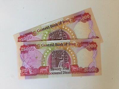 IRAQI DINAR UNCIRCULATED 50K (2 x 25,000 BANKNOTES) GENUINE AUTHENTIC CURRENCY