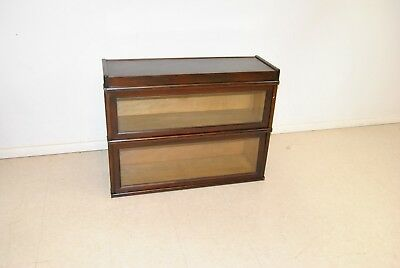 Antique Mahogany Stain Stacked Two Section Banded Barrister Bookcase By Macey