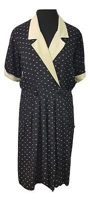 VINTAGE Playsuit Size 10 Black Cream Polkadot Evening Party Casual Holiday