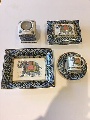Wedgwood Blue Elephant Set.pin Tray ,candle Holder,cup And Saucer And Card Hold