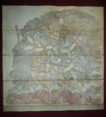 Antique buddhist drawing painting rare old large