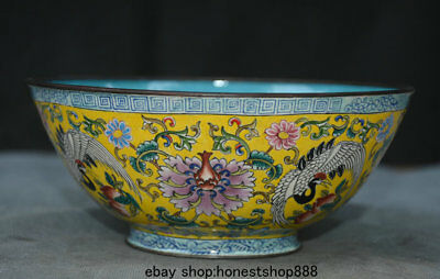 "7"" Marked Old Chinese Cloisonne Enamel Dynasty Palace Crane Flower Bowl"