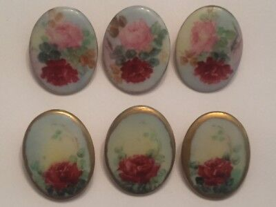 Vintage Antique Lot Of 6 Limoges Style Hand Painted Rose Porcelain Buttons